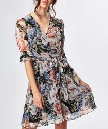 Multi-coloured floral print dress