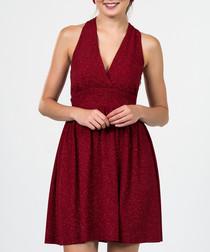 Dark red halterneck dress