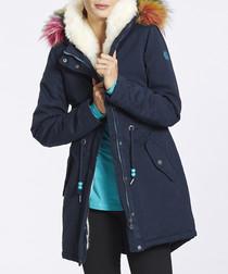 Blue cotton blend faux fur trim coat