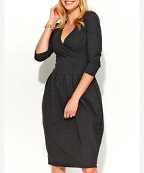Graphite cotton blend wrap dress