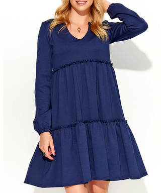72879def398a Dark blue ruffle detail dress Sale - Makadamia Sale