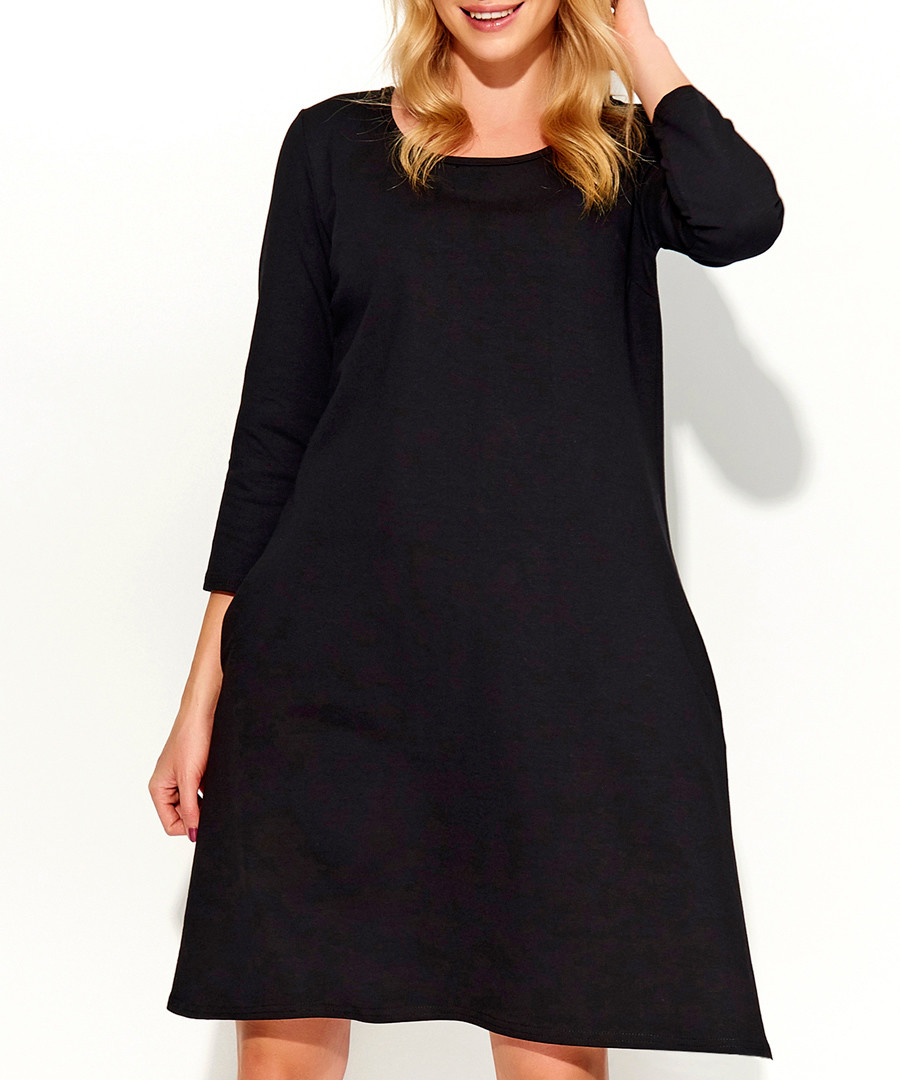 Black cotton blend loose dress Sale - Makadamia