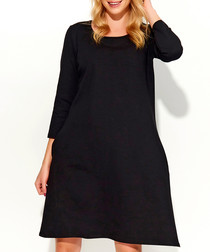 Black cotton blend loose dress