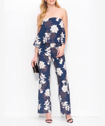 Dark blue & beige floral jumpsuit