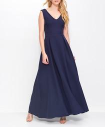 Dark blue V-neck maxi dress