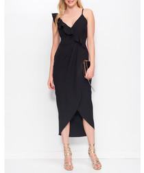 Black ruffle asymmetric maxi dress