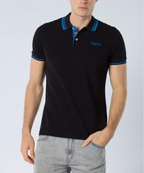 Black pure cotton logo polo shirt