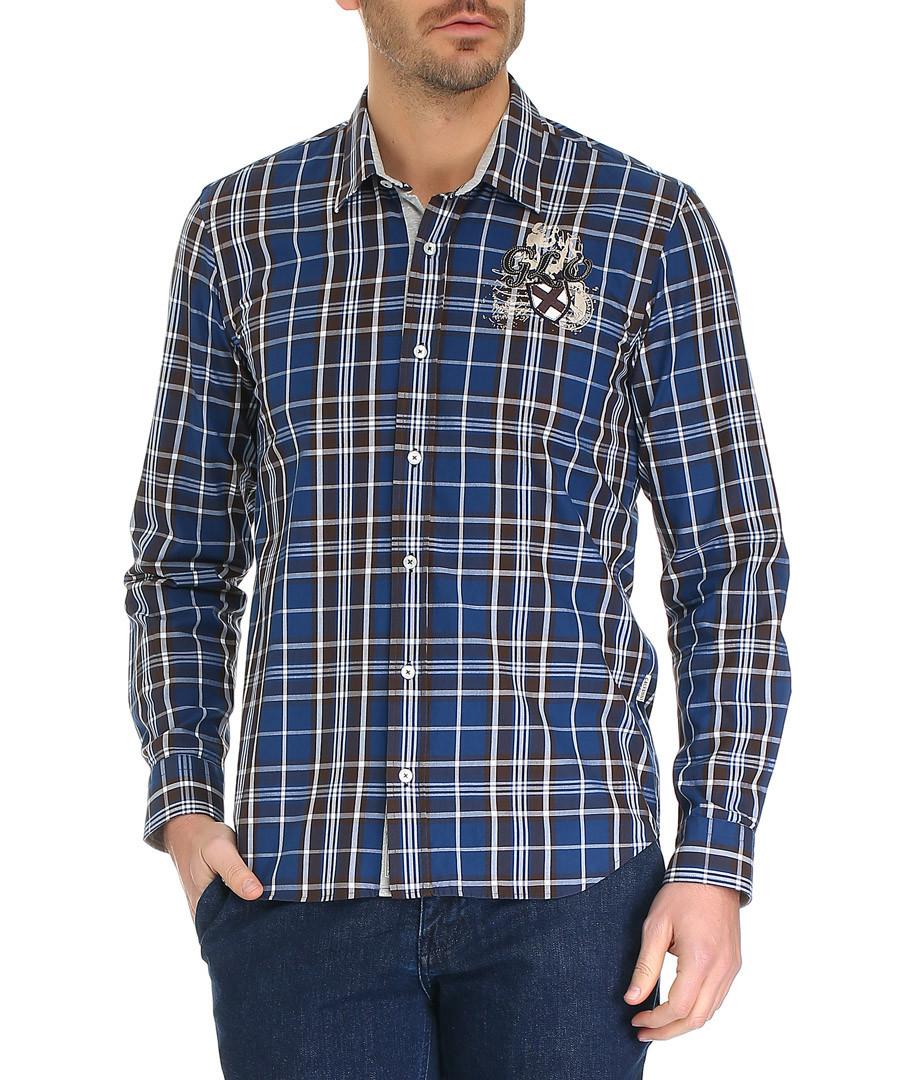 Lott blue cotton checked shirt Sale - galvanni