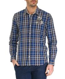 Lott blue cotton checked shirt