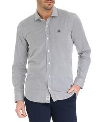 Braemer blue pure cotton checked shirt