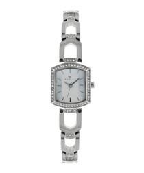 Grosvenor silver-tone crystal link watch