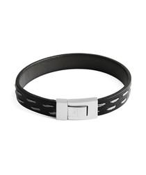 Black steel & leather bracelet