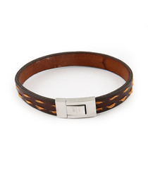 Dark brown steel & leather bracelet
