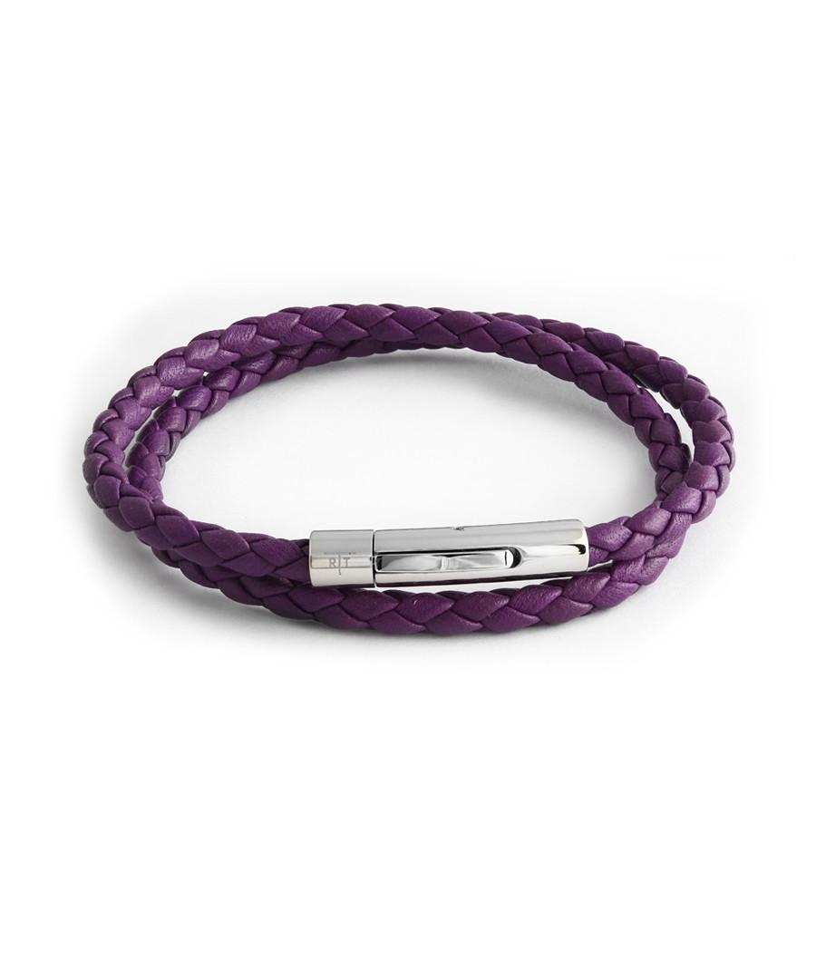 Purple leather braided bracelet Sale - Tateossian London