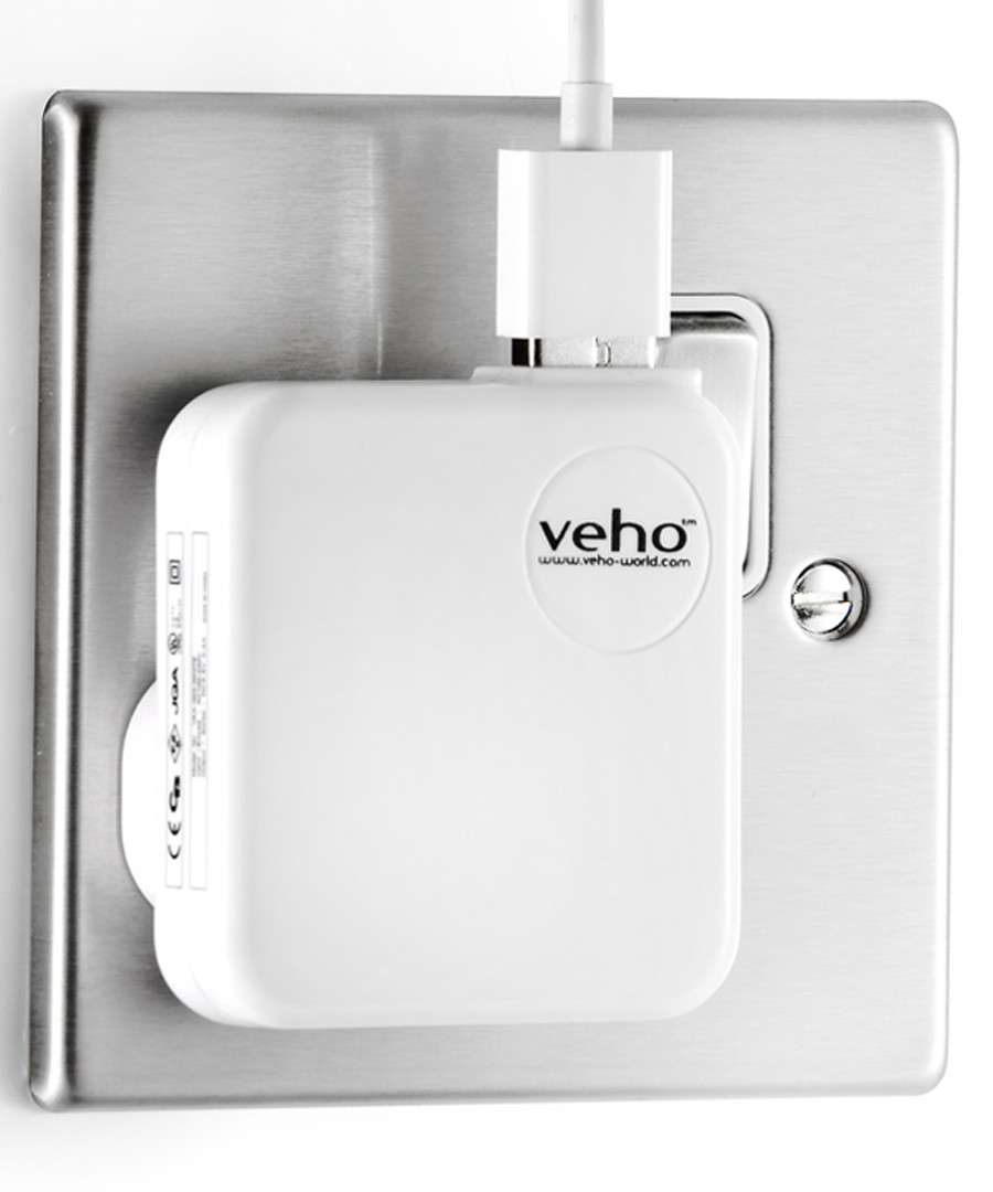 White UK mains 3 pin USB charger  Sale - Veho