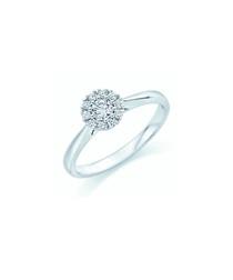 9ct white gold & round diamond ring