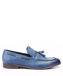 Blue leather tassel loafers