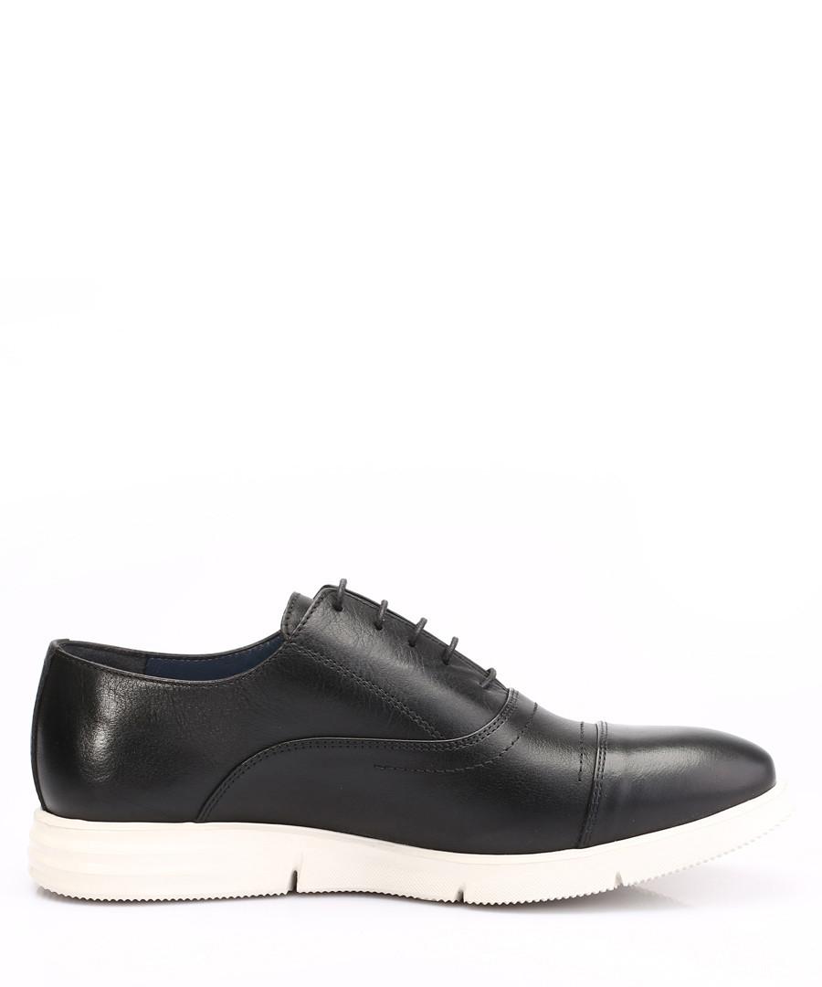 Black leather contrast sole lace-ups Sale - Eskina