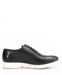 Black leather contrast sole lace-ups