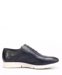 Dark blue leather contrast sole lace-ups