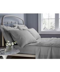 Grey cotton blend king flat sheet
