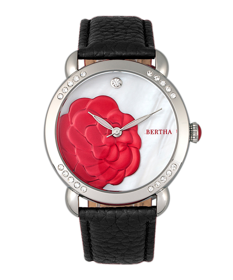 Daphne steel & black leather strap watch Sale - bertha