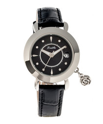 Rose black & silver-tone leather watch
