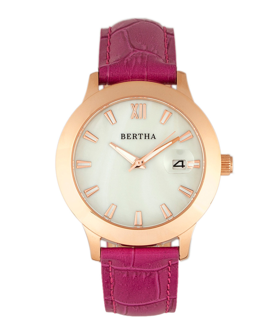 Eden rose gold-tone & pink leather watch Sale - bertha