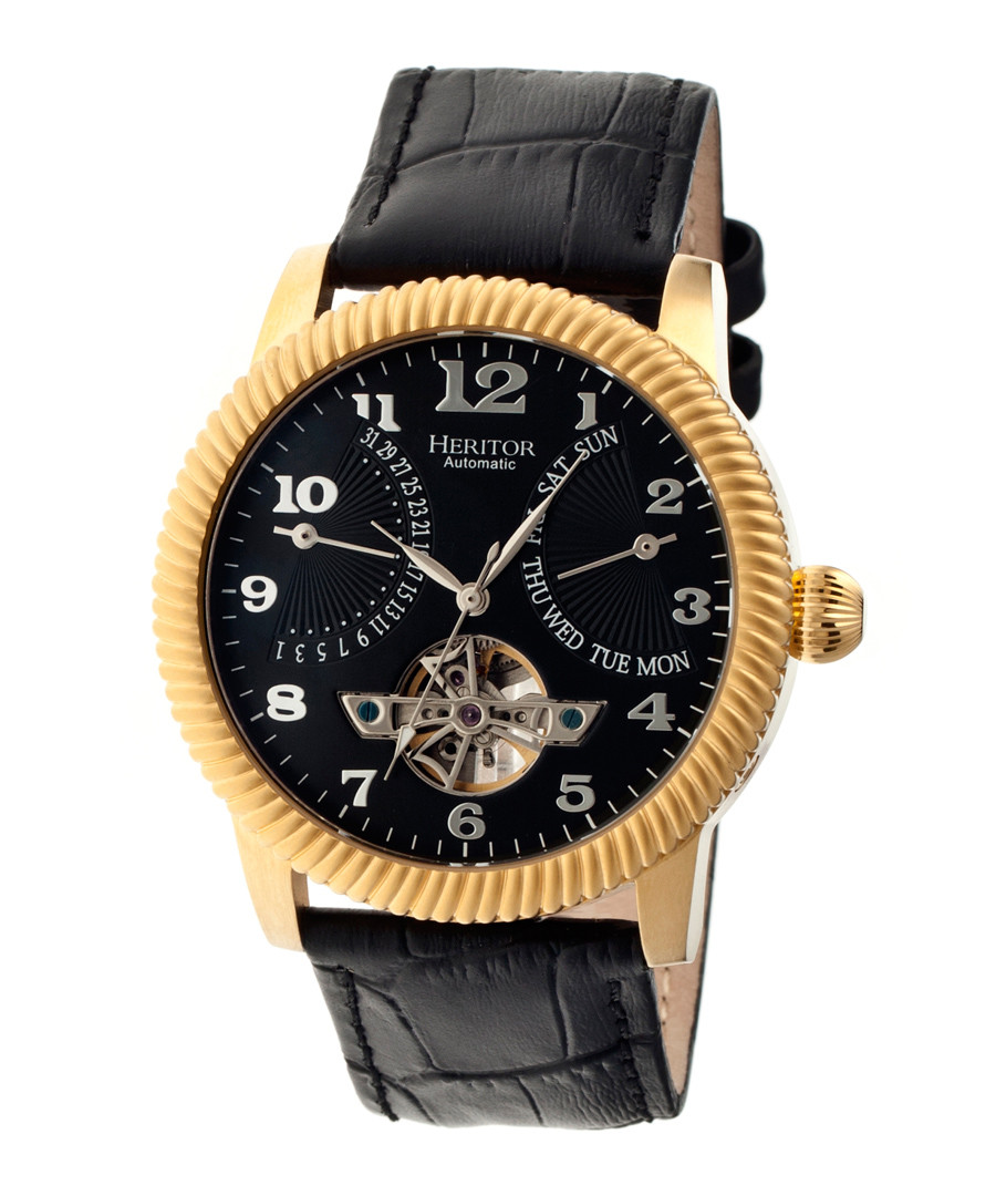 Piccard black & gold-tone leather watch Sale - heritor automatic