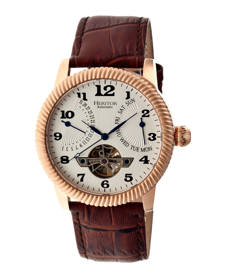 Piccard brown & gold-tone leather watch Sale - heritor automatic