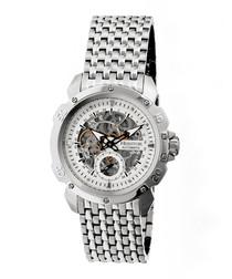 Conrad silver-tone steel link watch
