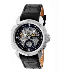 Conrad black & silver-tone leather watch