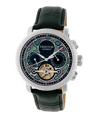 ede3754ac Aura black & silver-tone leather watch Sale - Heritor Automatic Sale