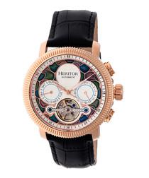 Aura black leather & steel watch