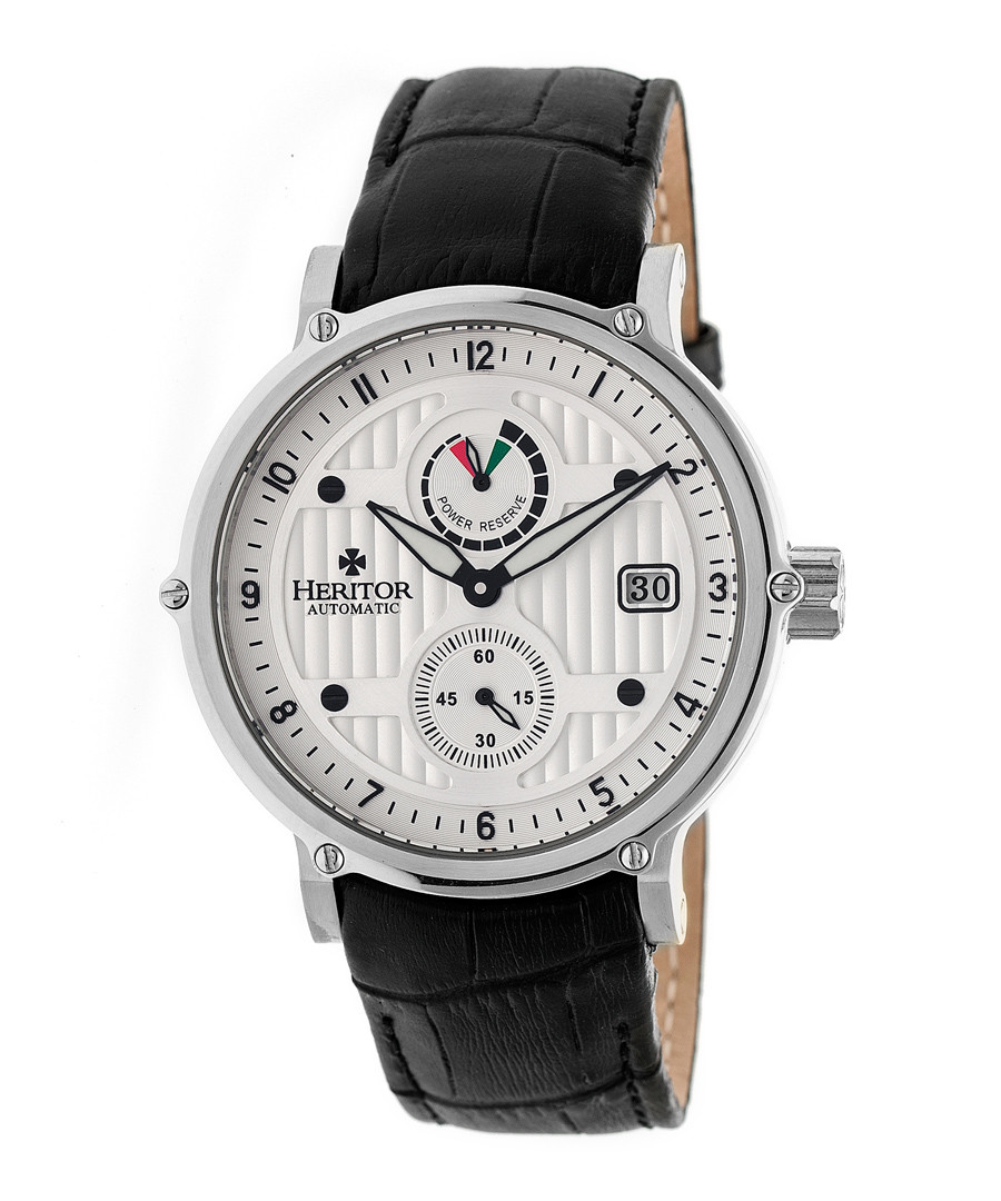 Leopold black & white leather watch Sale - heritor automatic