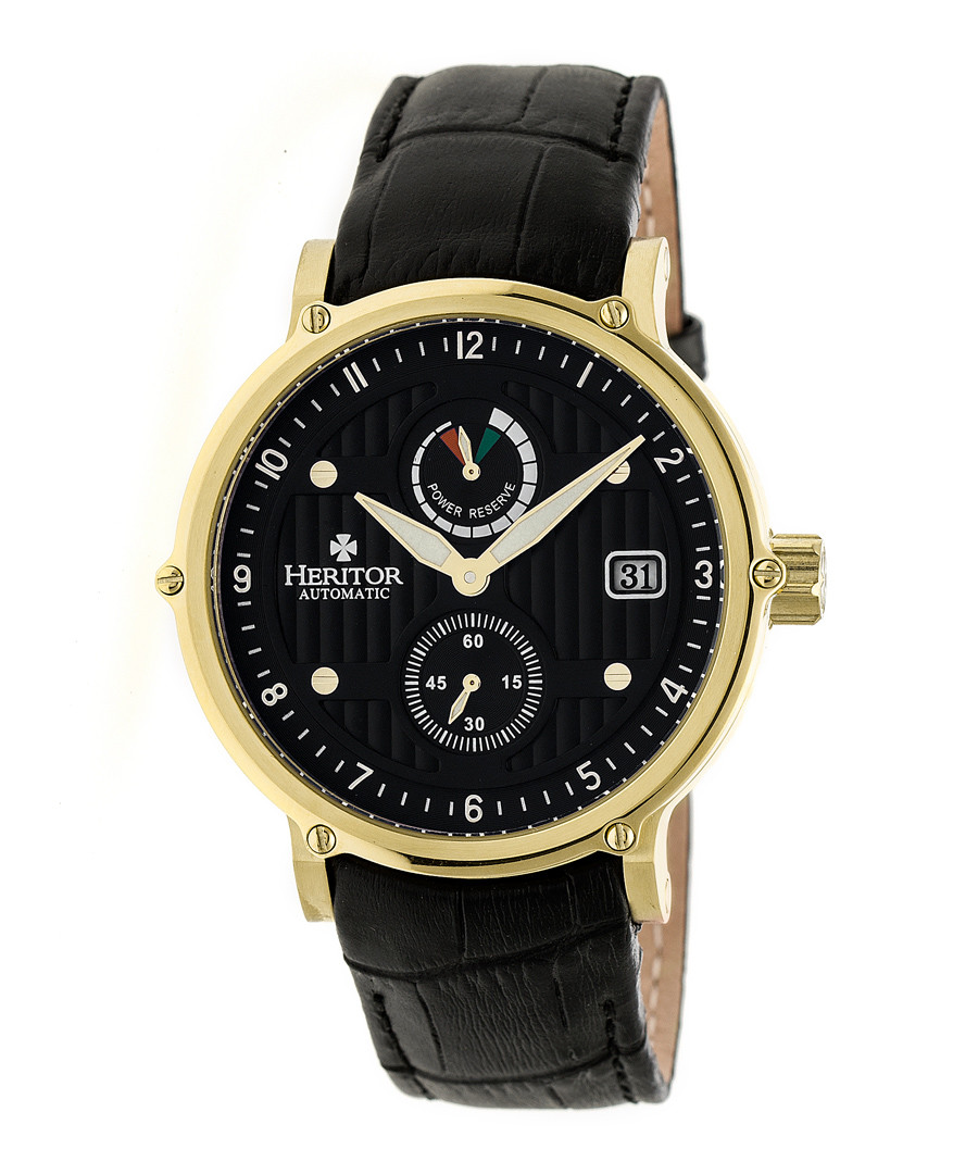 Leopold black & gold-tone leather watch Sale - heritor automatic