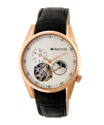 Alexander black leather watch