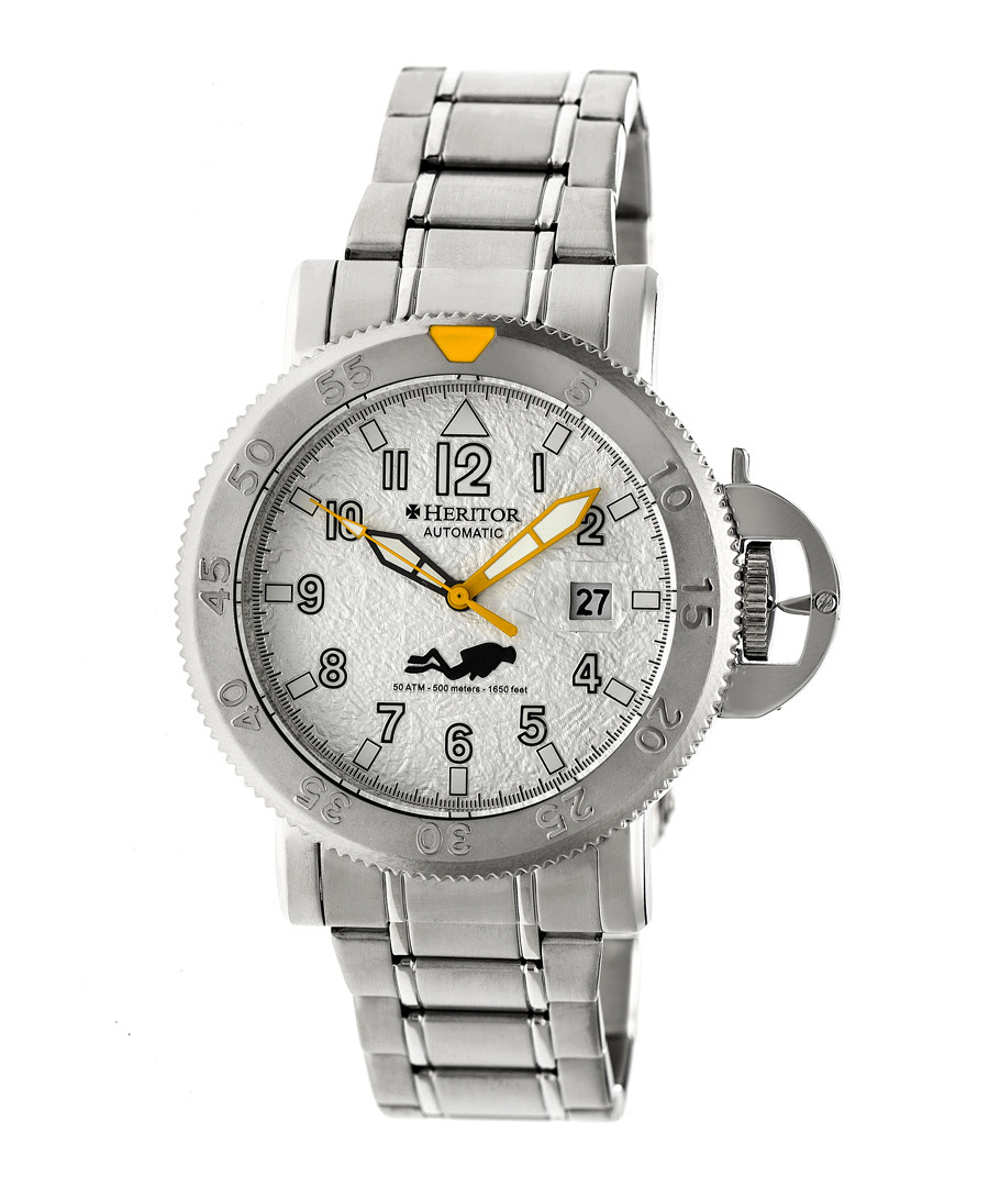Cahill silver-tone steel link watch  Sale - heritor automatic
