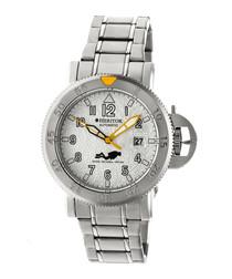 Cahill silver-tone steel link watch