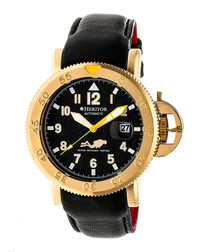 Cahill black & gold-tone leather watch