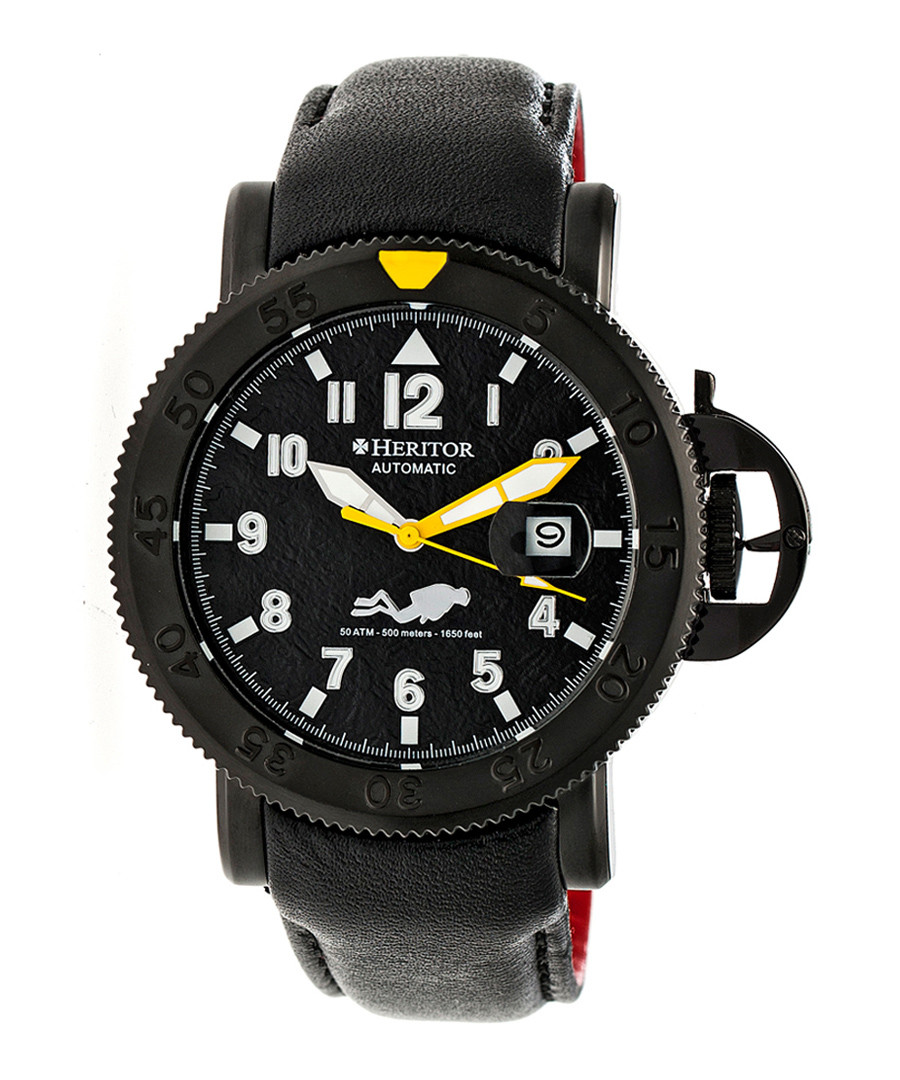 Cahill black & white leather watch Sale - heritor automatic