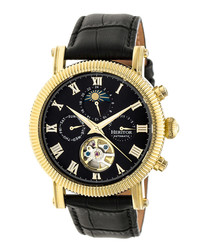 Winston black leather moc-croc watch