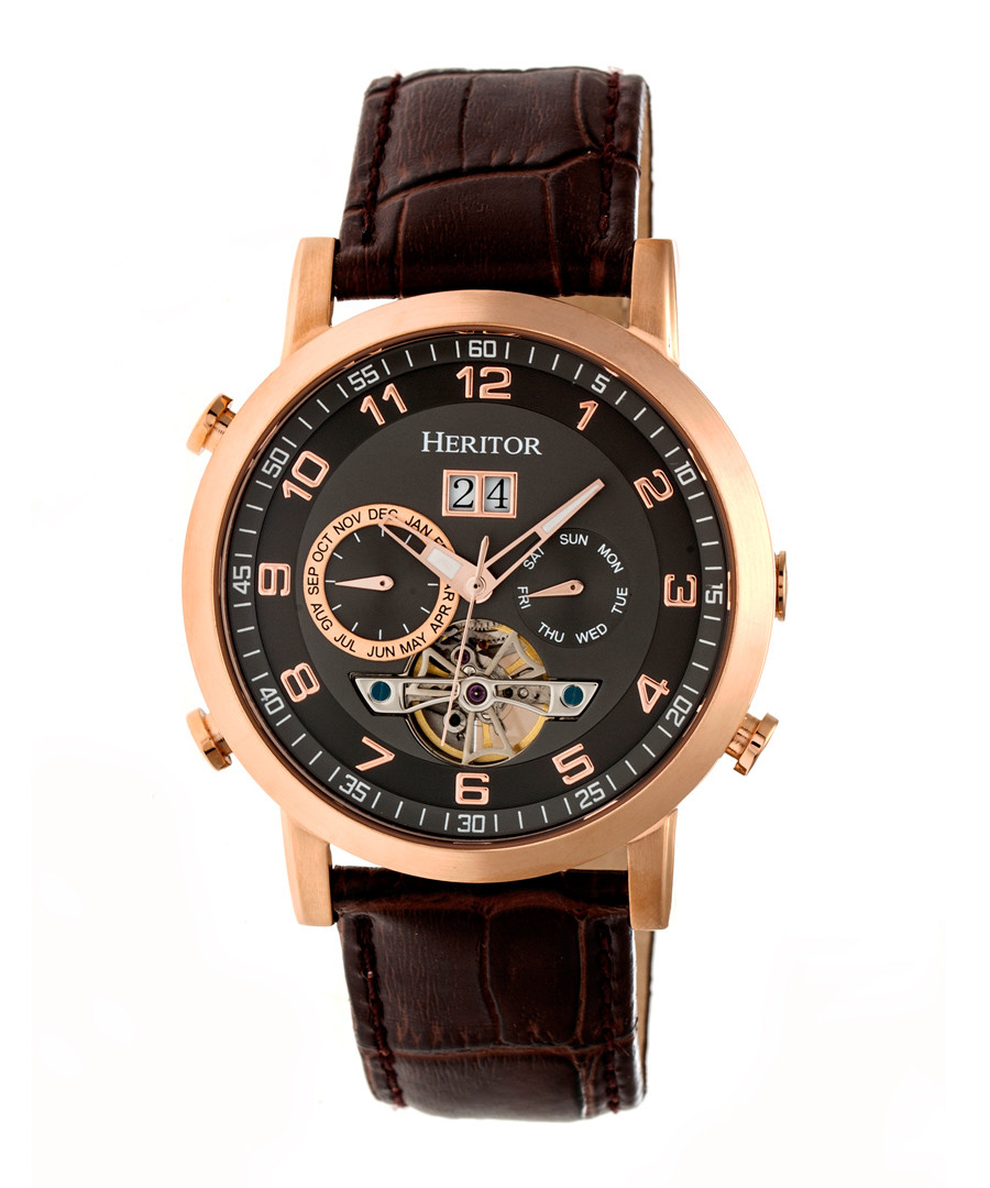 Edmond brown leather watch  Sale - heritor automatic