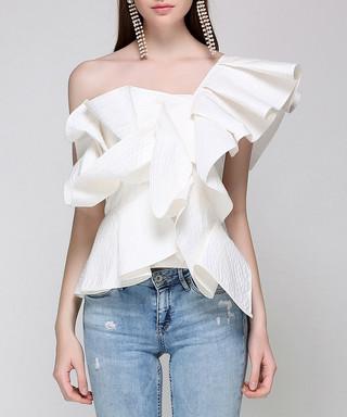 1ffd73ec05243f Off-white ruffle asymmetrical blouse Sale - sipaya Sale
