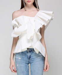 Off-white ruffle asymmetrical blouse