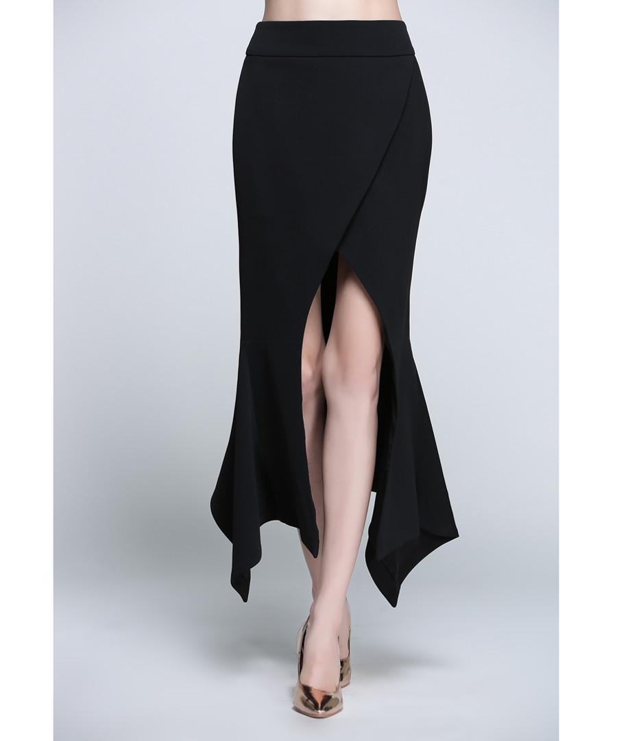 Black front-split maxi skirt Sale - sipaya