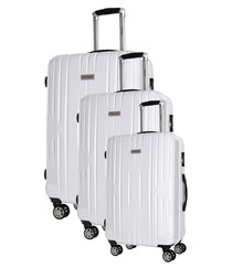 3pc Clifton white spinner suitcase nest