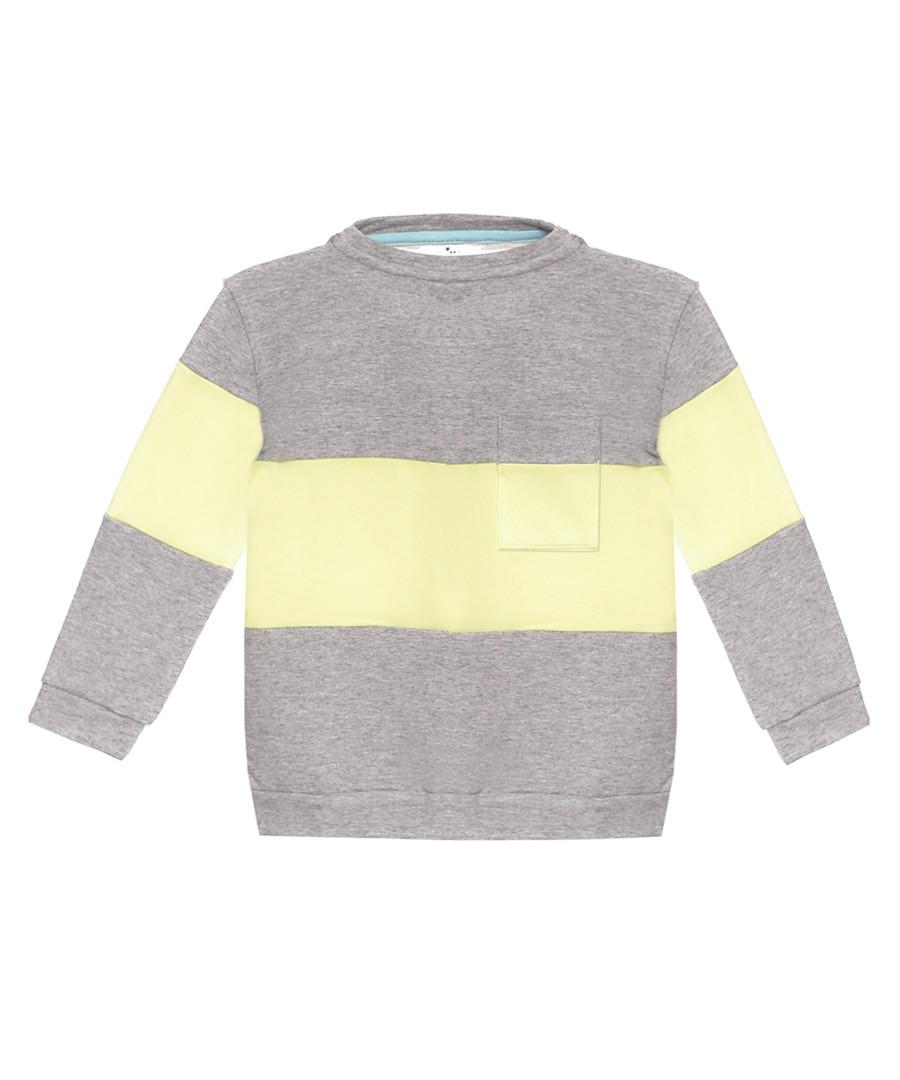Unisex grey & lemon cotton stripe hoodie Sale - Misha & Milo Kids