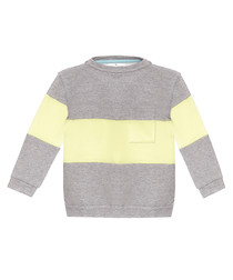 Unisex grey & lemon cotton stripe hoodie