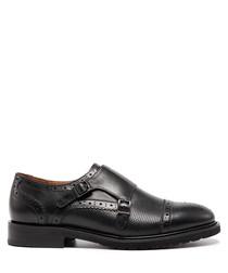 Black leather monkstrap shoes